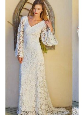 V Neck Long Sleeves Lace A Line 2019 Wedding Dresses