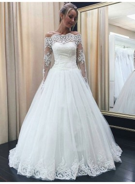 2020 Cheap A Line Off The Shoulder Lace Long Sleeves Wedding Dresses