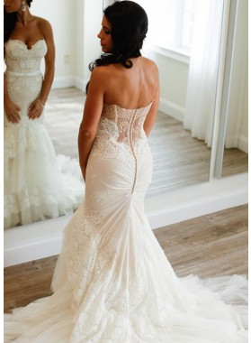 Sexy Mermaid Sweetheart Lace Layers 2020 Wedding Dresses