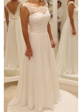 Cheap A Line Chiffon Backless Floor Length 2020 Wedding Dresses
