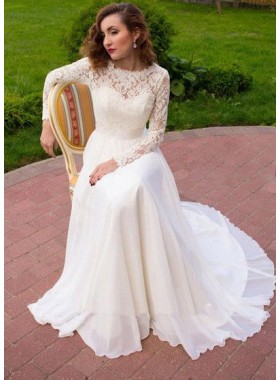 2019 New A Line Chiffon Long Sleeves Lace Wedding Dresses