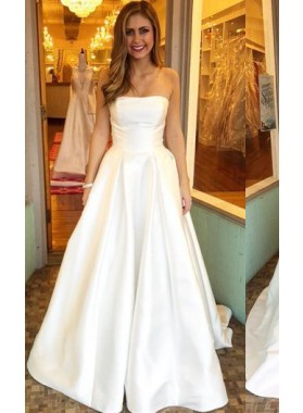 Simple A Line Strapless Floor-length Plain 2020 Wedding Dresses