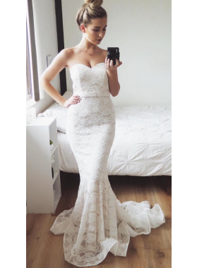 Charming Mermaid Sweetheart Lace Small Train Wedding Dresses 2020