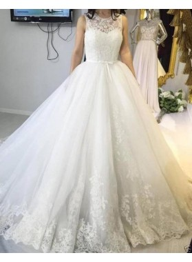 Elegant Sweetheart Tulle With Appliques Ball Gown Wedding Dresses