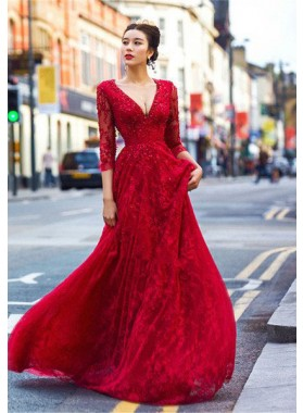 2019 Gorgeous Red Beautiful Deep V-Neck Backless Lace Prom Dresses