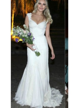 Charming Sheath Tulle Over Lace Sweetheart With Straps Long Wedding Dresses