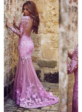 Charming Appliques Mermaid/Trumpet Tulle 2020 Glamorous Pink Prom Dresses