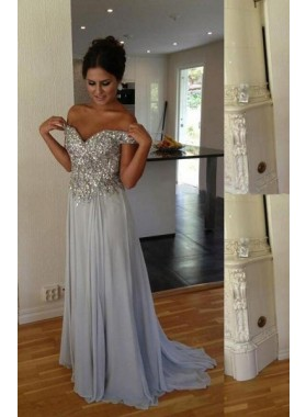 LadyPromDress 2019 Blue Sexy Sequined Sweetheart A-Line/Princess Chiffon Prom Dresses