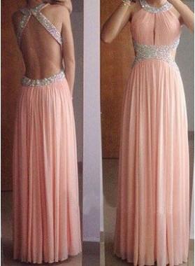Beading A-Line/Princess Chiffon Prom Dresses 2018 Glamorous Pink