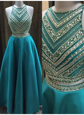 Princess/A-Line Two Pieces Beaded Satin Prom Dresses