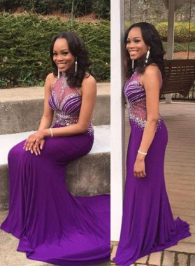 Crystal Halter Mermaid/Trumpet Stretch Satin Prom Dresses