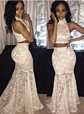 2018 Unique White High Neck Sweep Train Trumpet Lace Two Pieces Prom Dresses