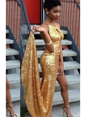 Sexy Halter High Slit Column/Sheath Sequined Prom Dresses