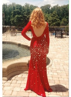 2019 Sexy Mermaid/Trumpet Red Long Sleeves Backless Beaded Prom Dresses