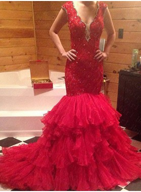 2019 Gorgeous Red Beading V-Neck Mermaid/Trumpet Tulle Prom Dresses