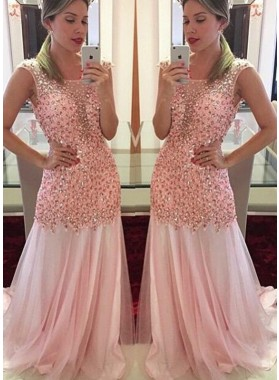 Chiffon Column/Sheath Pink Beaded Prom Dresses