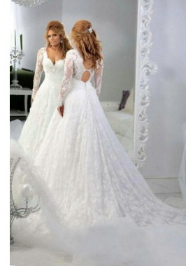 Gorgeous A Line Long Sleeves Lace Sweetheart Long Wedding Dresses