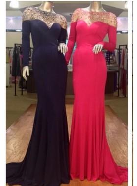 Black Column/Sheath Long Sleeves Prom Dresses