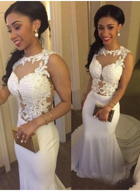 Mermaid/Trumpet White Chiffon Prom Dresses With Appliques