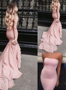 2019 Glamorous Pink Strapless Sweep Train Mermaid/Trumpet Prom Dresses