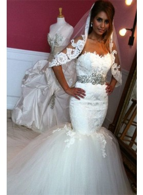 Charming Mermaid Tulle Sweetheart Beaded Belt Wedding Dresses