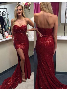 2019 Siren Red Column/Sheath Side Slit Sweetheart Sequence Prom Dresses