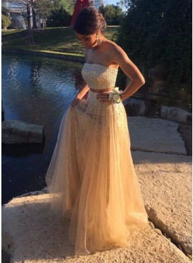 2019 Cheap Princess/A-Line Tulle Champagne Two Pieces Prom Dresses