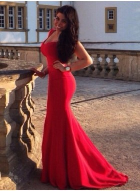 2019 Sexy Mermaid/Trumpet Red Sweetheart Satin Prom Dresses