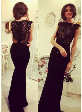 2019 Junoesque Black Elegant Beading Appliques Mermaid/Trumpet Prom Dresses