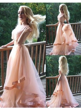 Sweep/Brush Train A-Line/Princess Tulle Two Pieces Prom Dresses