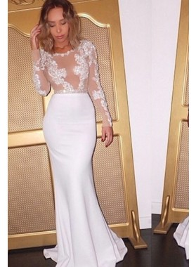 2019 Sexy Mermaid/Trumpet White Long Sleeves Elastic Satin Prom Dresses