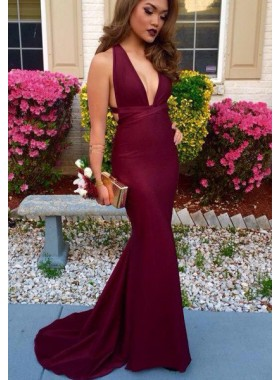 2018 Gorgeous Red V Neck Open Back Mermaid/Trumpet Satin Prom Dresses