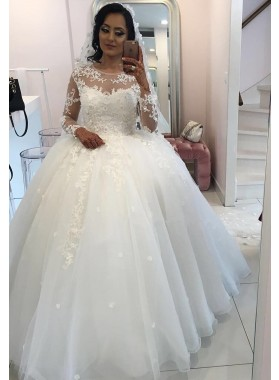 New 2020 Long Sleeves Organza Princess Ball Gown Wedding Dresses