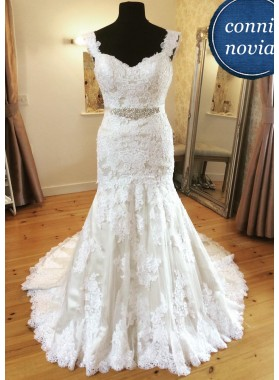 2020 Mermaid Ivory Lace Sweetheart Wedding Dresses With Straps