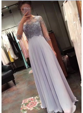2019 Charming Princess/A-Line Chiffon Long Sleeves Lavender Prom Dresses
