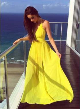 2020 Cheap Princess/A-Line Daffodil Chiffon Sweetheart Prom Dresses