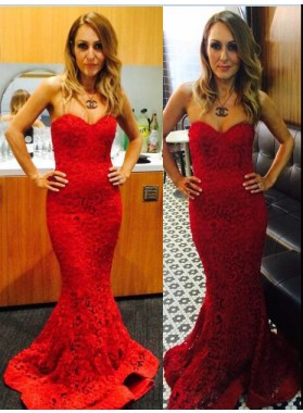2019 Sexy Mermaid/Trumpet Sweetheart Red Lace Prom Dresses