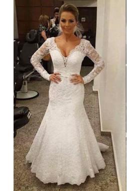 New Arrival Mermaid Lace Long Sleeves 2019 Wedding Dresses