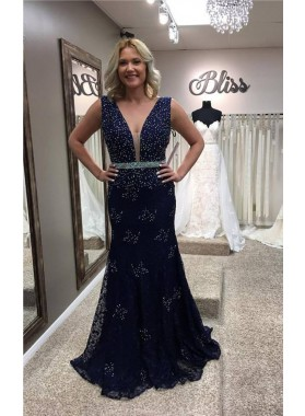 2019 Siren Mermaid/Trumpet Dark Navy Lace V-neck Prom Dresses