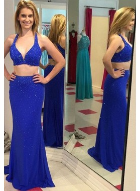 LadyPromDress 2018 Blue Sexy Beading Halter Two Pieces Prom Dresses