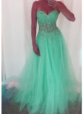 2019 Cheap Princess/A-Line Sweetheart Mint Green Tulle Prom Dresses