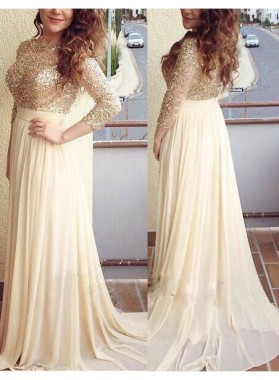 Princess/A-Line Champagne Chiffon Long Sleeves Prom Dresses