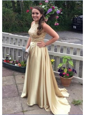 2019 Charming Princess/A-Line Satin Gold Prom Dresses