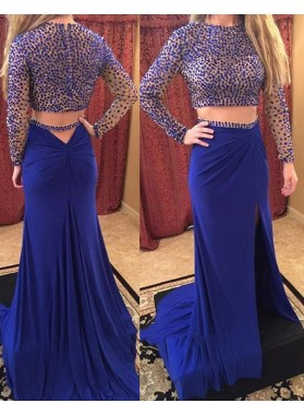 Royal Blue Sheath Chiffon Long Sleeves 2019 Two Pieces Prom Dresses