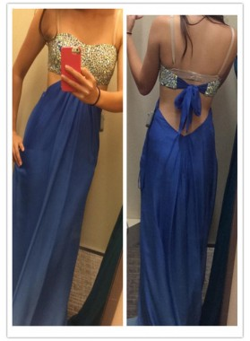 Chiffon A-Line/Princess Royal Blue Backless 2019 Cheap Prom Dresses