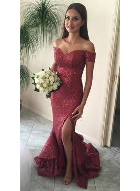 Sexy Sweetheart Red Sequence Off The Shoulder 2019 Prom Dresses