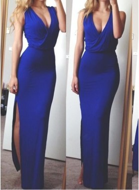 Royal Blue Trumpet/Mermaid Halter Side Slit 2019 Prom Dresses