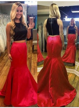 2020 Red And Black Trumpet/Mermaid Satin Two Pieces Prom Dresses