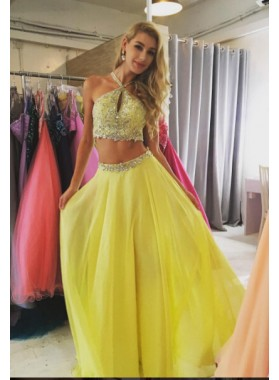 A-Line/Princess Chiffon Daffodil Halter Two Pieces 2019 Prom Dresses