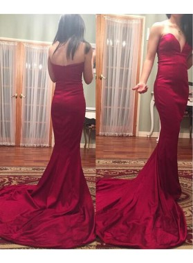 Sexy Trumpet/Mermaid Satin Sweetheart Long Train 2019 Prom Dresses